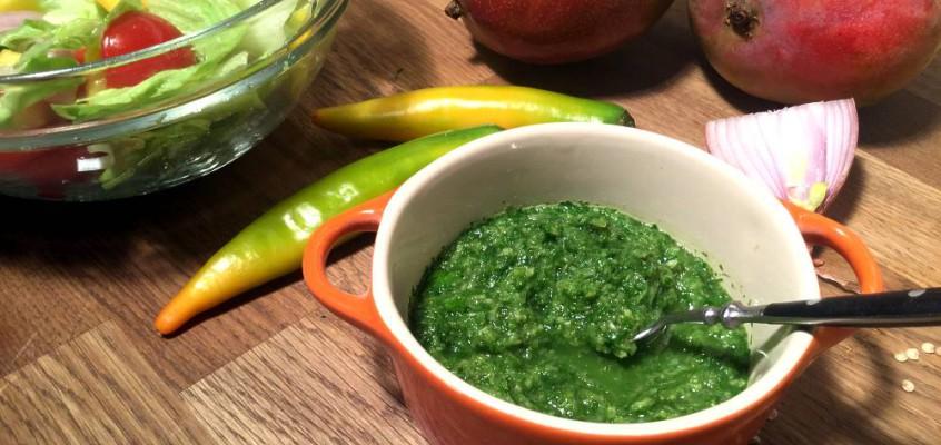 Indisk korianderchutney, til salat eller varmmat