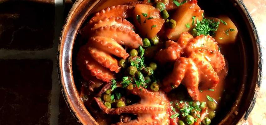 Moscardini con piselli: Blekksprut med erter